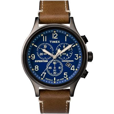 TIMEX 精準轉動三眼計時手錶(TW4B09000)-藍/44mm