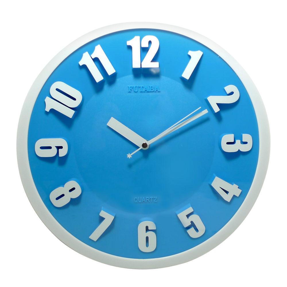 時尚3D立體凸字靜音掛鐘(3色) 0719