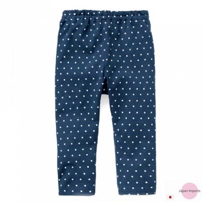 Japan Imports 深藍圓點彈性內搭長褲