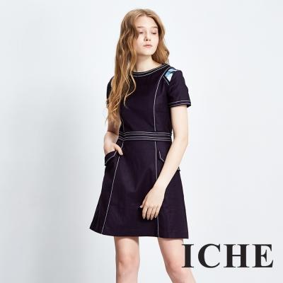 Chaber巧帛 簡約拼接印花短袖造型洋裝