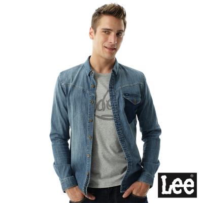 Lee 牛仔101+帥氣長袖襯衫- 男款-淺藍色