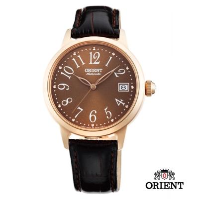 ORIENT 東方錶 ELEGANT系列 花漾時光機械腕錶-咖啡色x玫瑰金色框/36mm