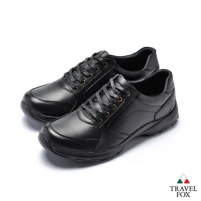 TRAVEL FOX(男)舒適休閒紳士鞋帶款-黑