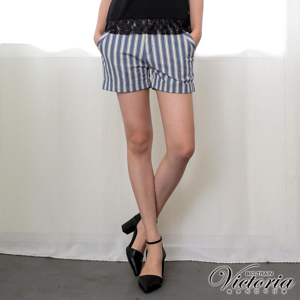 Victoria 中腰條紋休閒短褲-女-灰藍