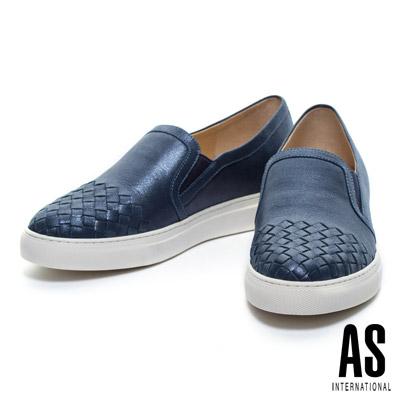 休閒鞋-AS-時尚編織風格全真皮厚底休閒鞋-藍