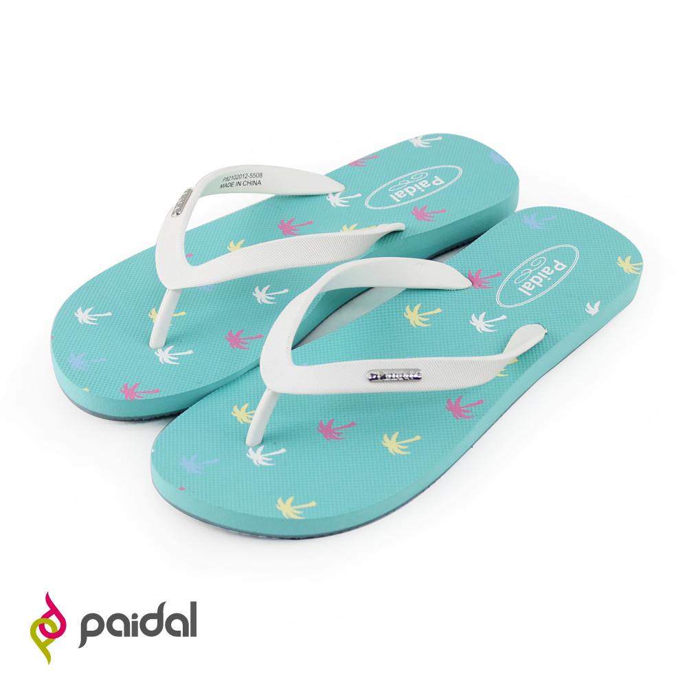 Paidal渡假椰子樹人字拖夾腳拖鞋-蔚藍海
