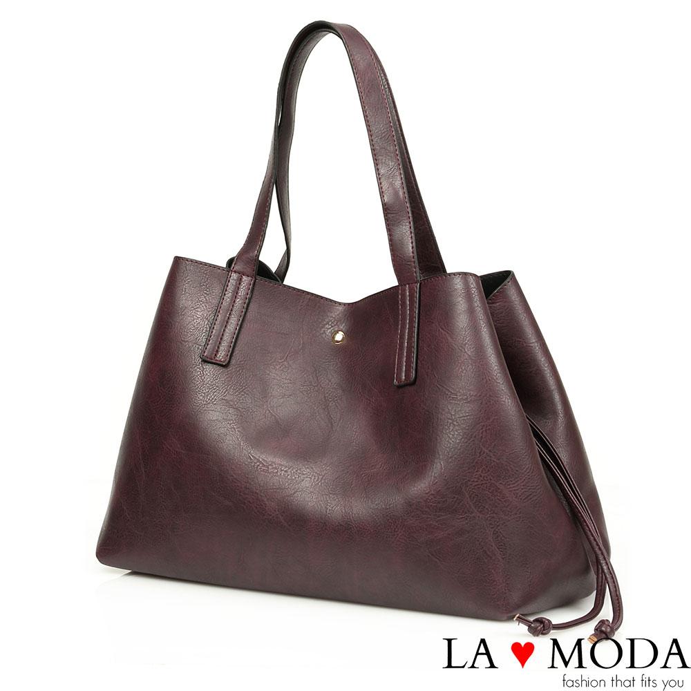La Moda 品牌專屬系列 - 束口設計子母托特包(紫)