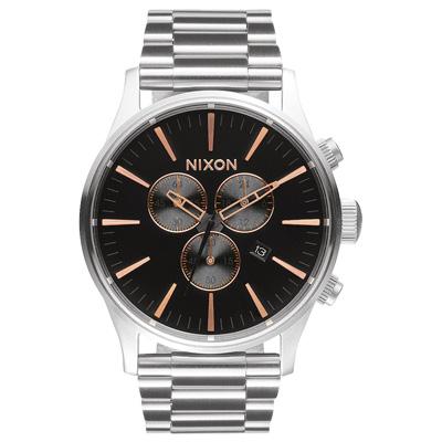 NIXON The SENTRY CHRONO 藍調搖滾潮流運動腕錶-玫瑰金x黑/42mm
