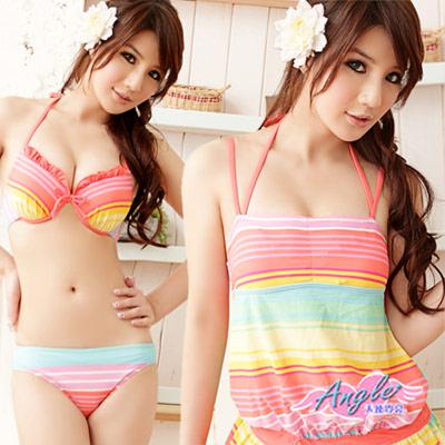 天使霓裳 亮彩普普風 三件式鋼圈比基尼泳裝 泳衣(彩色M~XL)