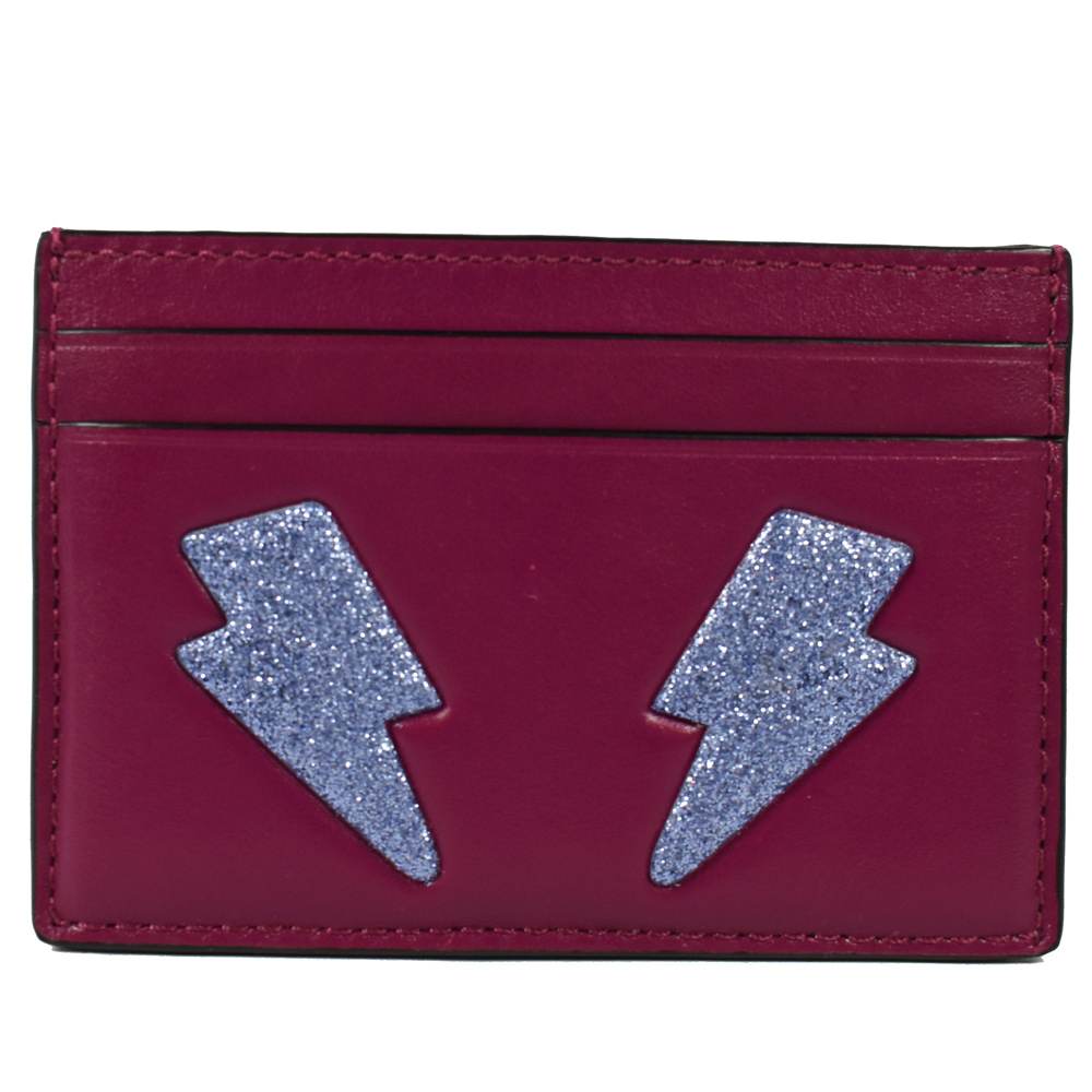 COACH 閃電圖案雙色荔枝牛皮卡片夾(紫紅)