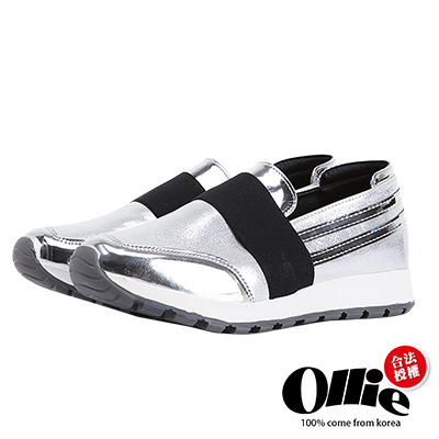 Ollie韓國空運-正韓製。個性漆皮彈性繃帶增高懶人鞋-銀