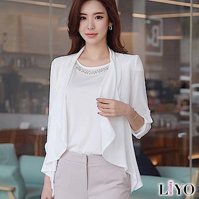 外套韓風氣質垂領防曬寬鬆腰帶薄外套LIYO理優E818002 S-XL