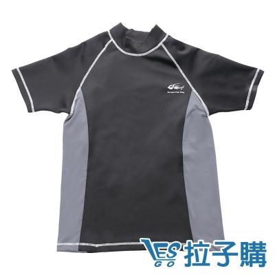 束胸泳衣-運動拼色有袖拉鍊式束胸泳衣-LESGO