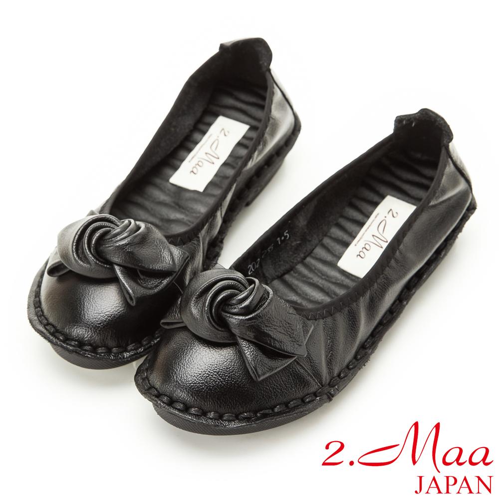 2.Maa-真皮質感蝴蝶結舒適軟鞋-黑