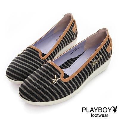 PLAYBOY 高雅品味 GOPLAY條紋娃娃鞋-黑(女)