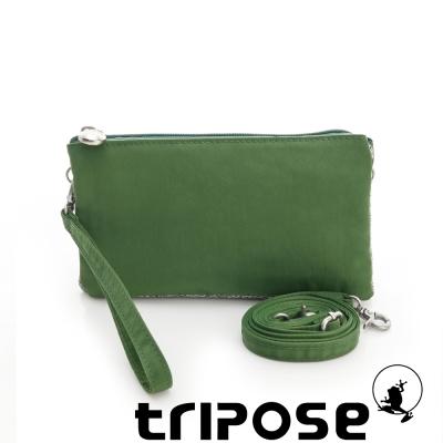 tripose 漫遊系列岩紋簡約微旅手拿/側肩包 淺綠