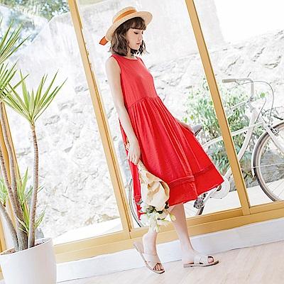 純色下襬壓褶無袖長洋裝-OB大尺碼