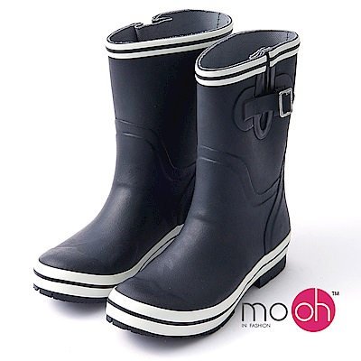 mo.oh愛雨天-搭扣中筒防水登山雨鞋-黑色
