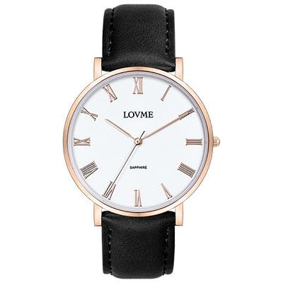LOVME 羅馬學院風時尚手錶-IP玫x白/38mm