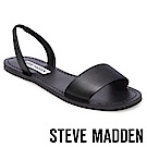 STEVE MADDEN-ALINAI-真皮素面一字帶涼鞋-黑色