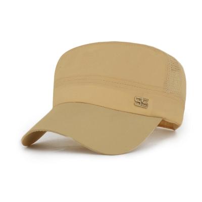活力揚邑 防曬涼感速乾吸濕排汗潮流軍帽平頂帽-米色