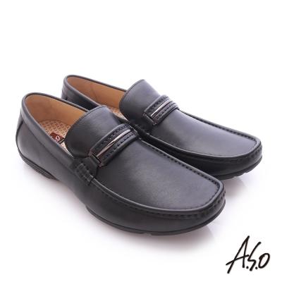 A.S.O 3D超動能 小牛皮直套式彈力舒適休閒鞋 黑色