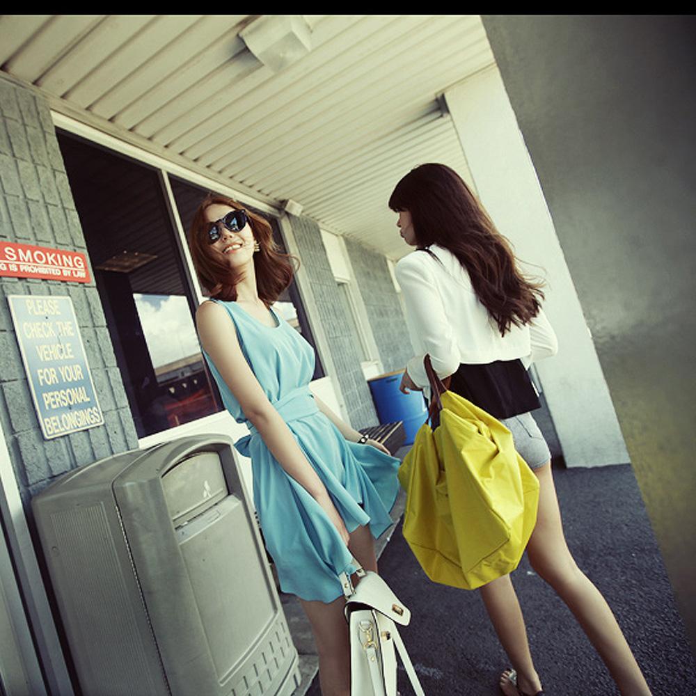 【Style Mentor】質感方形車縫旅行包 (黃色)