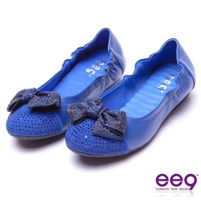 ee9 閃耀星光靚亮鑲鑽蝴蝶結飾扣柔軟舒適平底娃娃鞋 藍色