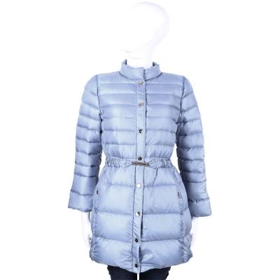 MARELLA-水藍色-釦式-設計-長版-羽絨外套