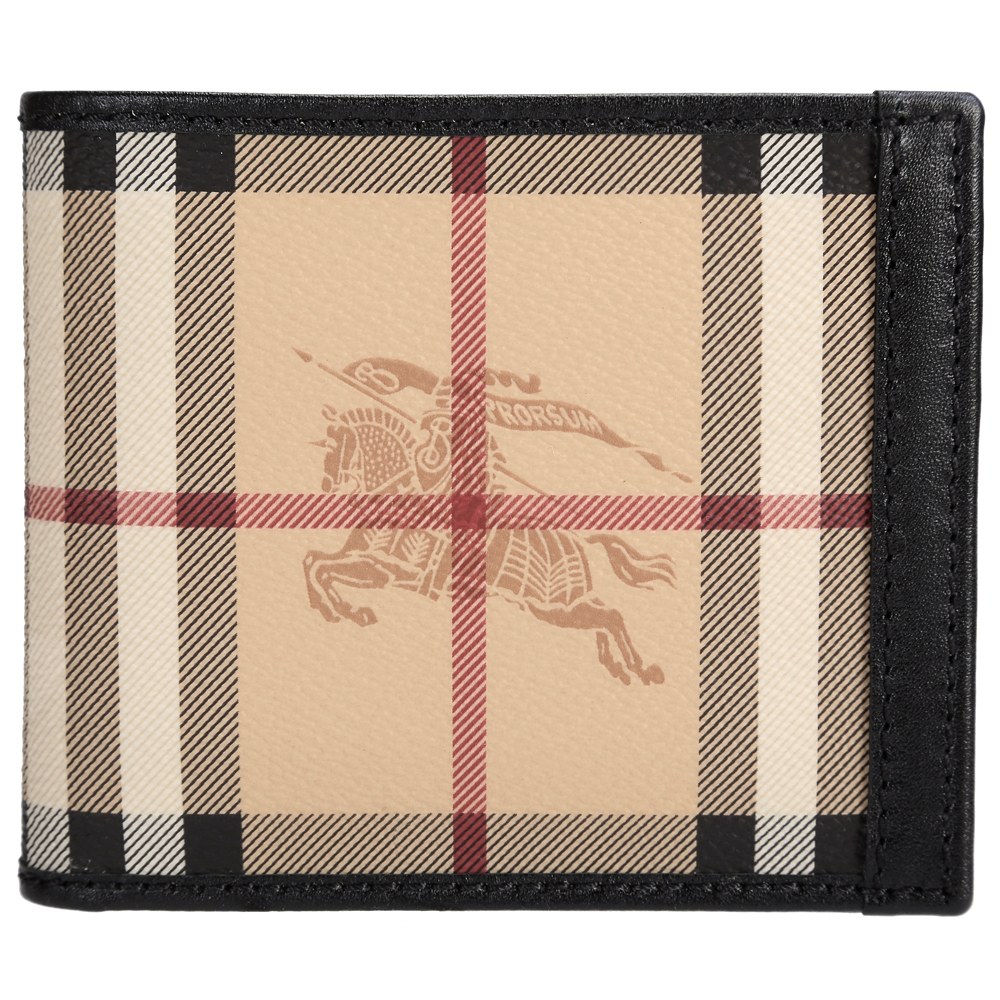 BURBERRY 經典騎士格紋小牛皮鑲滾對折短夾(黑色)