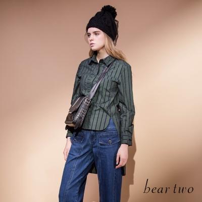 beartwo-個性條紋拼接口袋造型襯衫-二色