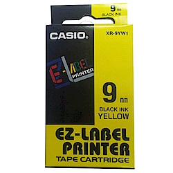 CASIO 標籤機專用特殊色帶-9mm黃底黑字-XR-9YW1