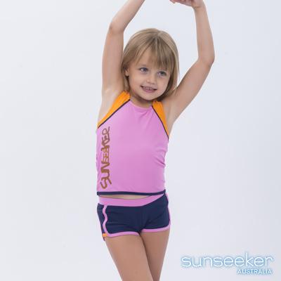 澳洲Sunseeker泳裝小女童抗UV防曬運動兩件式泳衣-粉色