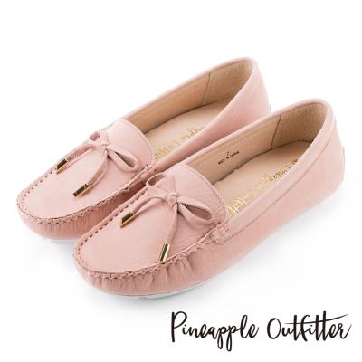 Pineapple Outfitter 簡約時尚  經典蝴蝶結真皮莫卡辛鞋-粉色
