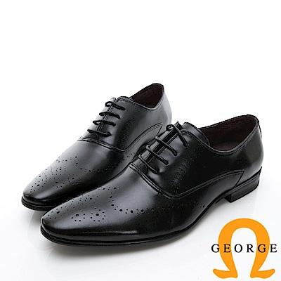 GEORGE 喬治-商務系列 雕花漸層紳士皮鞋-黑