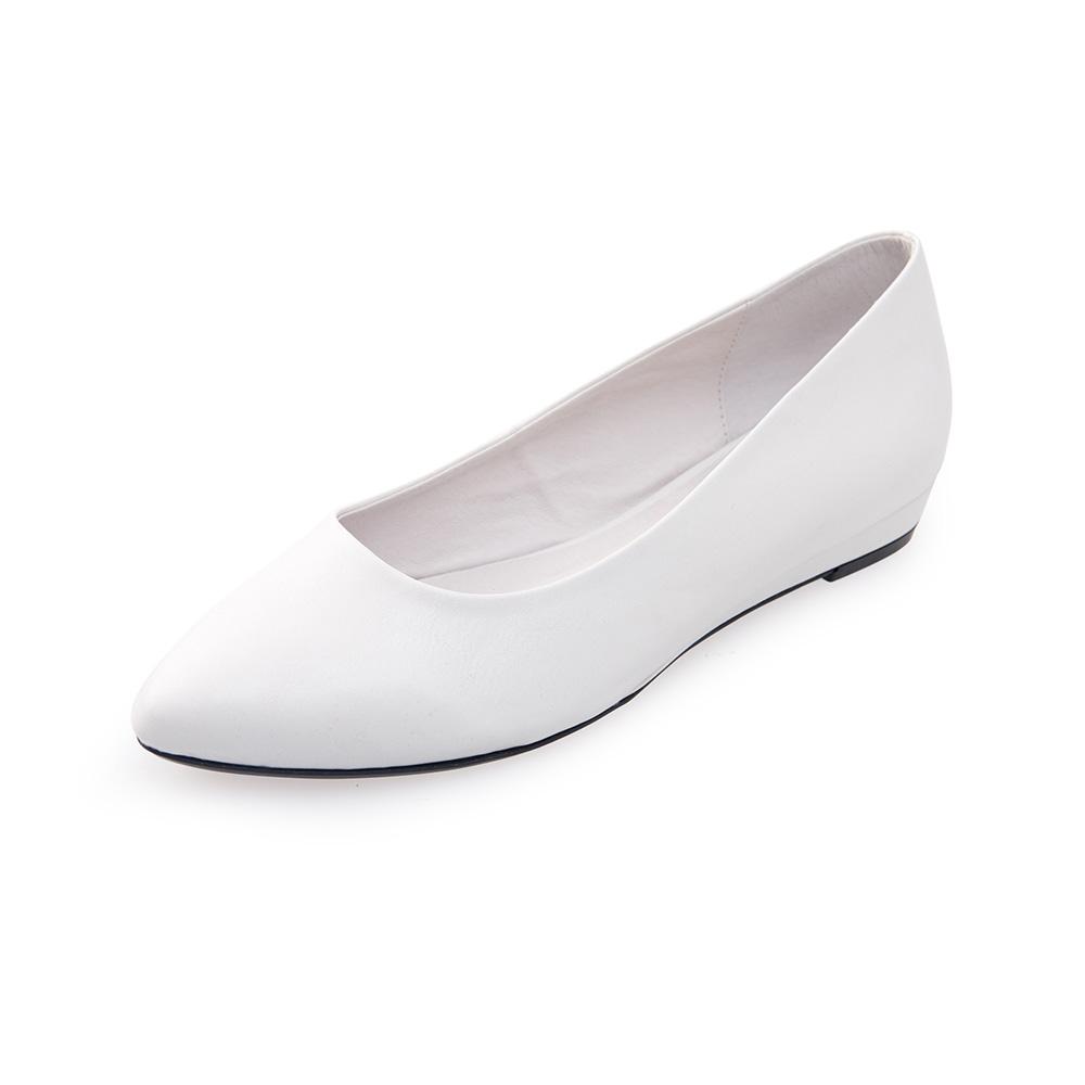 Chichi 微尖頭素面百搭平底鞋*白色