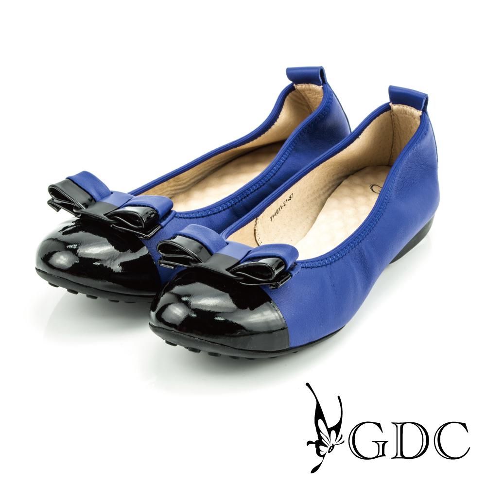 GDC-蝴蝶雙色拼接彈力舒適真皮平底娃娃鞋-藍色