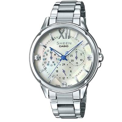 SHEEN 切割玻璃面設計羅馬時刻腕錶(SHE-3056D-7A)珍珠母貝面37.1mm