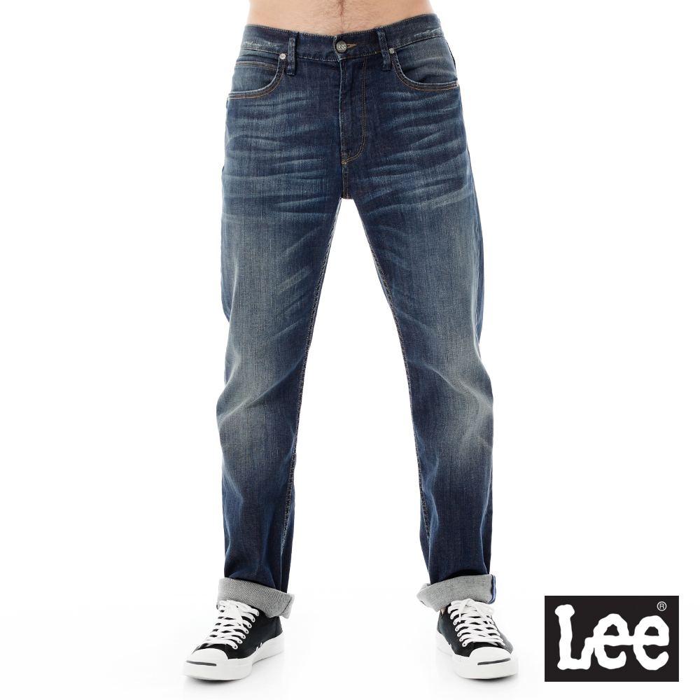 Lee 牛仔褲 743 Regional中腰舒適直筒-男款 中深藍