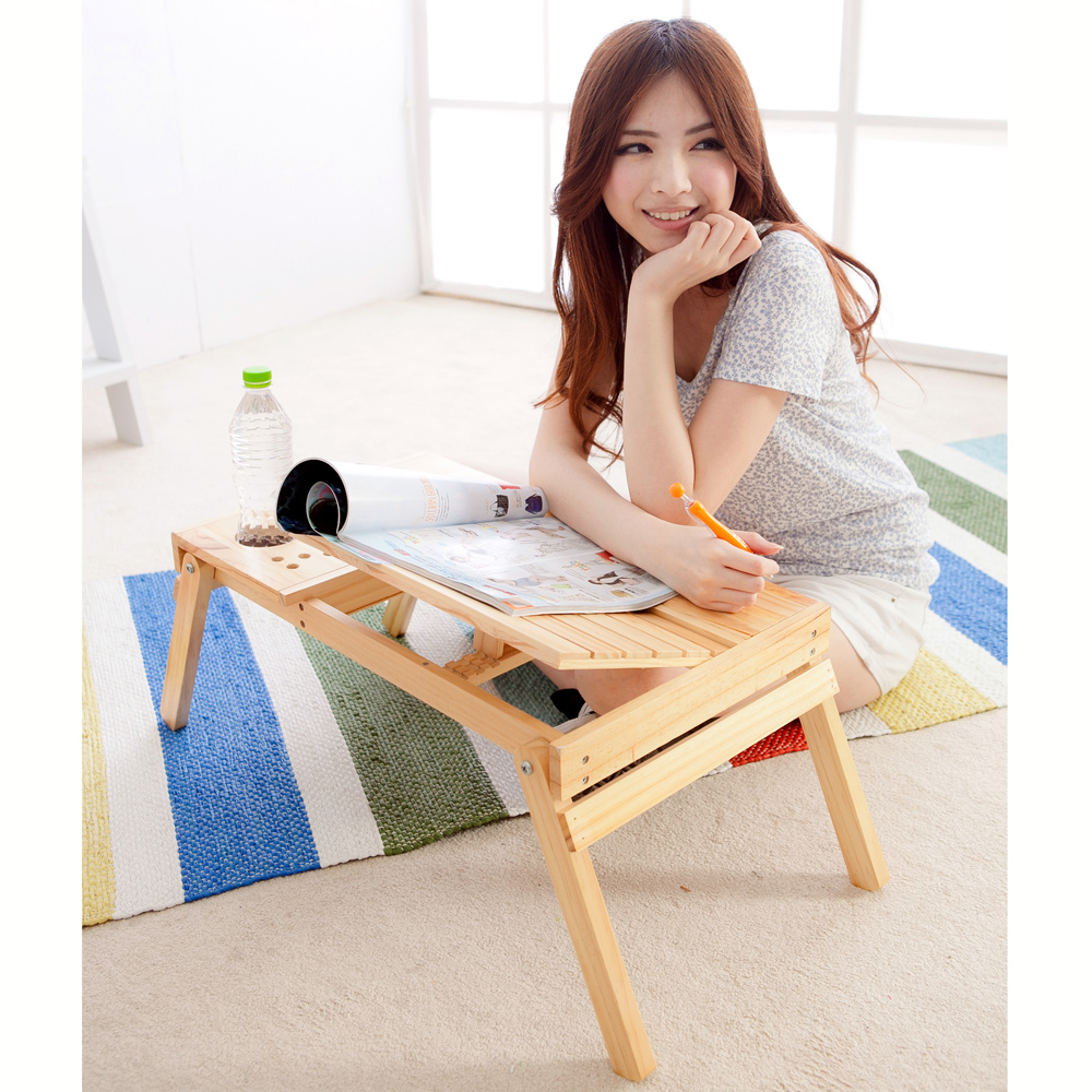LIFECODE 懶人松木折疊桌/床上桌/筆電桌(雙置物盒+杯架+筆座)