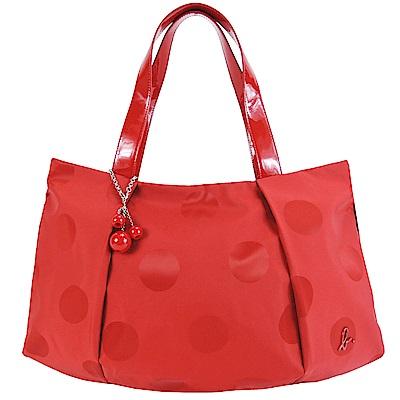 agnes.b 大圓點立體B串珠手提包-大紅
