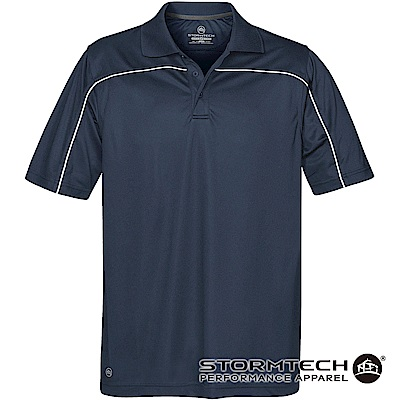 【加拿大STORMTECH】防曬快乾系統線條立領polo衫IPS-2-男-深藍白