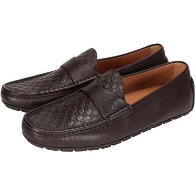 GUCCI Guccissima GG壓紋牛皮休閒鞋(咖啡色)