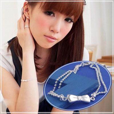 【維克維娜】漂亮巴黎公主。蝴蝶結立體雙層珠鍊 925純銀手鍊