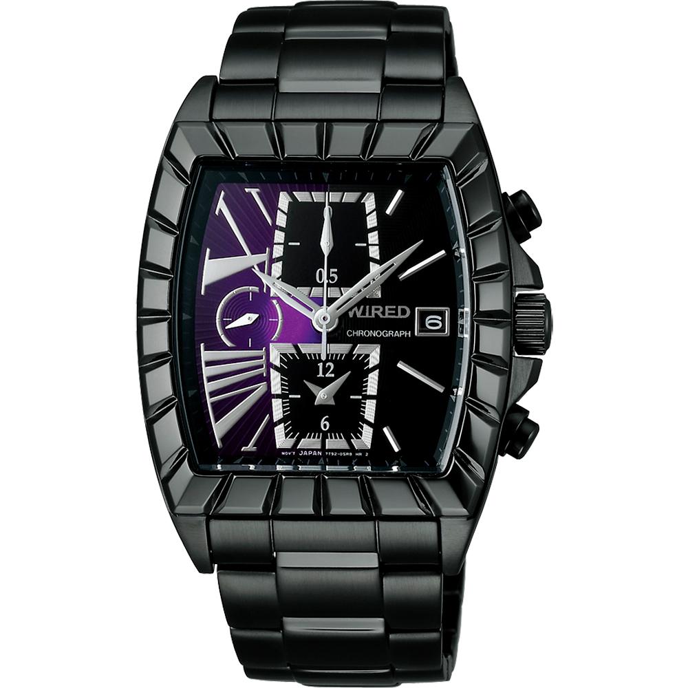 WIRED 星際戰艦三眼計時腕錶-紫x黑/IP黑/36x38mm