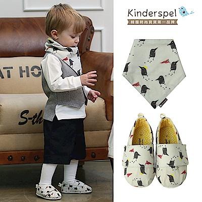 Kinderspel郊遊趣休閒學步鞋+有機棉圍兜領巾(黑鳥探險家)