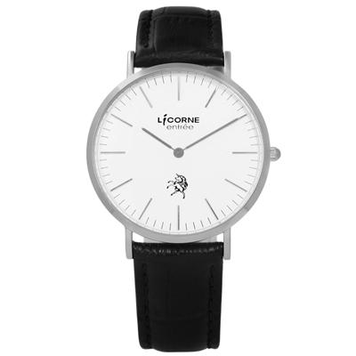 LICORNE 力抗 entree永恆極簡品味藍寶石水晶壓紋真皮手錶-白x黑/36mm