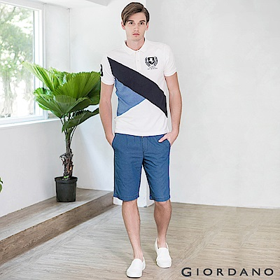 GIORDANO 男裝丹寧抽繩腰修身直筒五分褲-02 中藍色