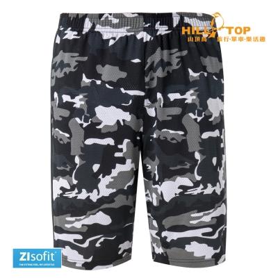 【hilltop山頂鳥】男款ZIsofit吸濕排汗彈性短褲S09M66黑百合灰迷彩