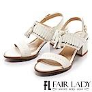 Fair Lady 波希米亞流蘇繫踝一字粗跟涼鞋 白